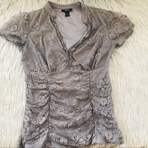 AGB gray lace blouse size M